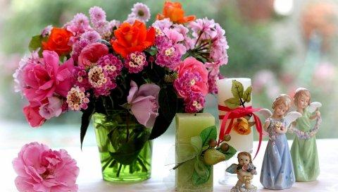 Роза, хризантема, лантана, цветы, букеты, свечи, статуэтки, ангелы