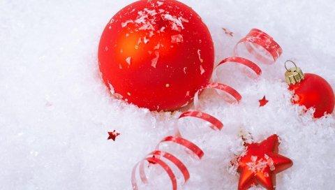 Рождественские украшения, воздушные шары, звезда, снег, атрибуты, праздник