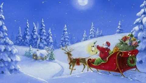 Санта-Клаус, северный олень, сани, подарки, дерево, свет, дом, ночь, луна