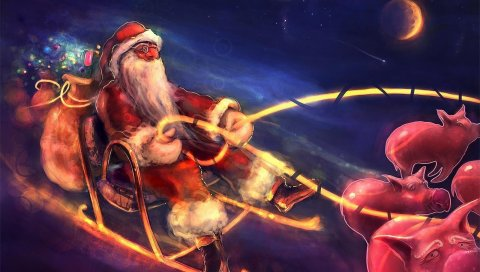 Санта-Клаус, ночь, рождество, подарки, свиньи, санки, полеты