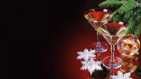 Рождественские украшения, очки, напитки, нитки, иглы, снежинки, праздник