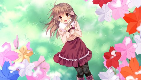 Asahina mai, game cg, sakura no reply, девушка, холод, листва