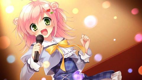 Игра cg, plaid, sakura нет ответа, tsukimori chiyoko, девушка, микрофон, песня