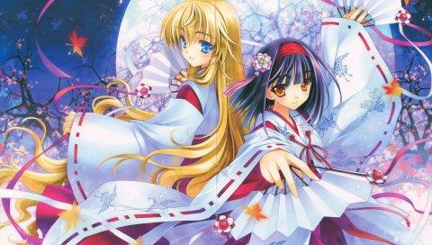 Девушки, кимоно, фанат, луна