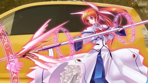 Mahou shoujo лирическая nanoha, девушка, пистолет, автомобиль
