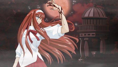 Тоно акиха, девушка, кровь, ночь, луна