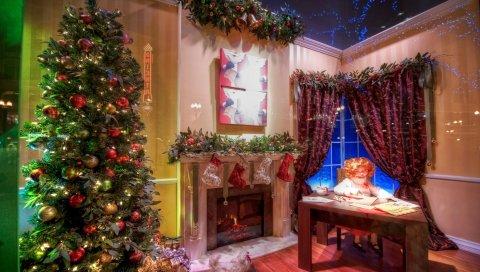 Дерево, украшения, подарки, комната, камин, девушка, стол, рождество