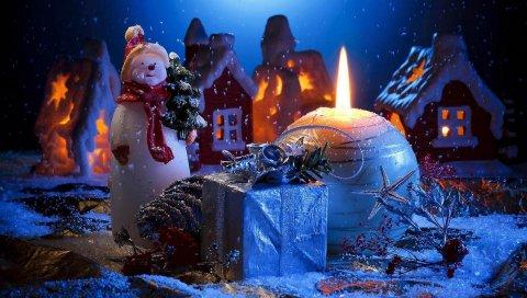 Свеча, снеговик, подарок, дом, праздник, новый год, рождество