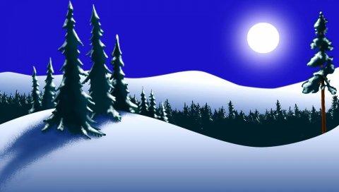 Деревья, лес, зима, луна, ночь