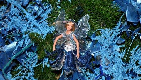 Рождественские игрушки, куклы, дерево, праздник, рождество, новый год