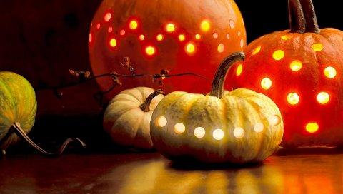 Хэллоуин, праздник, тыквы, гирлянды
