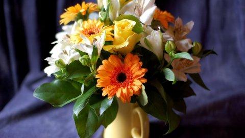 Герберы, розы, альстромерия, цветы, листья, цветок