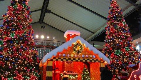 Рождественские елки, украшения, слайд, дети, дом, праздник, рождество, новый год
