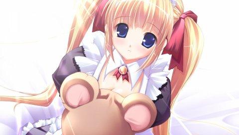 Mikeou, розовый chuchu, девушка, блондин, медведь