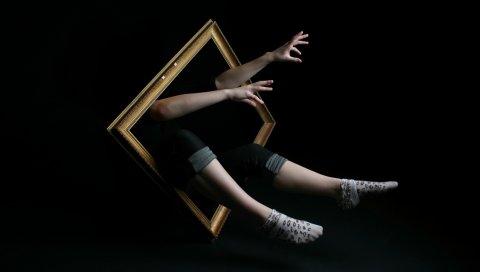 Кадр, руки, человек, нога, импровизация, воображение, сюрреализм