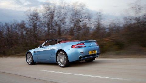 Aston martin, v8, vantage, 2006, синий, вид сбоку, стиль, скорость, асфальт
