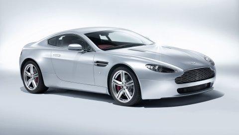 Aston martin, v8, vantage, 2008, белый, вид сбоку, авто