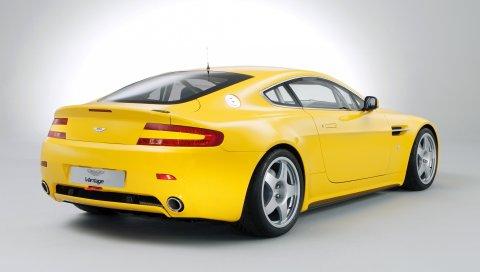 Aston martin, v8, vantage, 2007, желтый, вид сзади, стиль