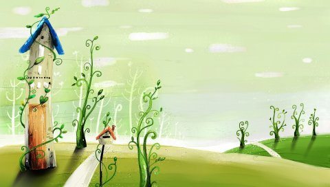 Дом, трава, узоры, узор