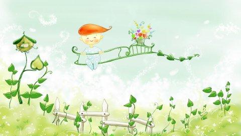Мальчик, забор сидя, живопись, краска, цвет, природа