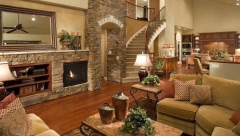 Гостиная, лестница, мебель, комната