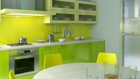 Кухня, стиль, стол, мебель, современная