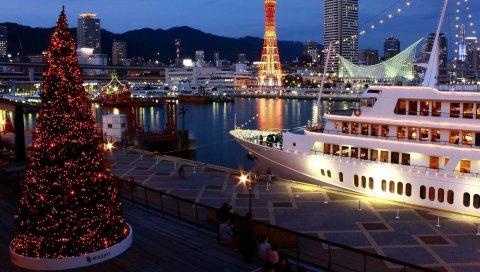 Дерево, праздник, порт, корабль, ночь, огни