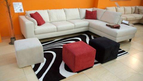 Диван, стул, стиль, яркий, интерьер