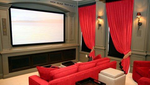 Комната, кинотеатр, диван, экран, стиль, интерьер