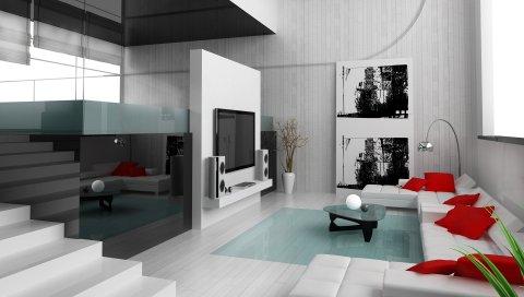 Лестница, диван, стекло, интерьер