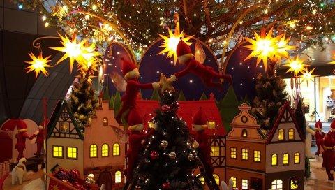 Дерево, рождество, праздник, дом, эльфы, рождественские украшения
