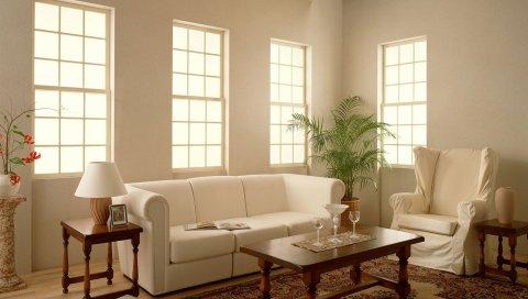 Комната, диван, стул, ковер, стиль, интерьер