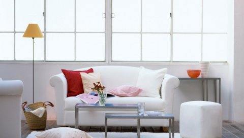 Диван, подушки, стиль, интерьер, комфорт, свет