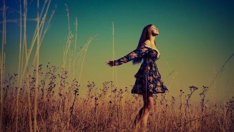 Светлые волосы, платье, свобода, поле,