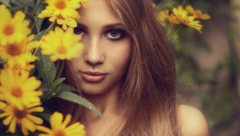 Светлые волосы, цветы, длинноволосого, голубоглазые