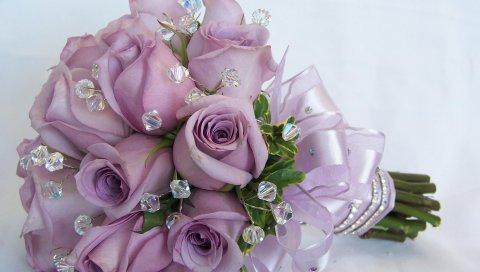 Розы, цветы, цветок, камень, украшение, элегантный