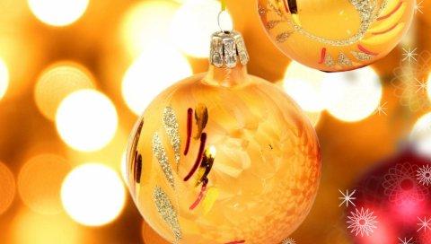 Рождественские украшения, воздушные шары, желтый, пара, узор, макро