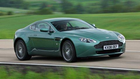 Aston martin v8 vantage, 2008, зеленый, вид сбоку, скорость, природа