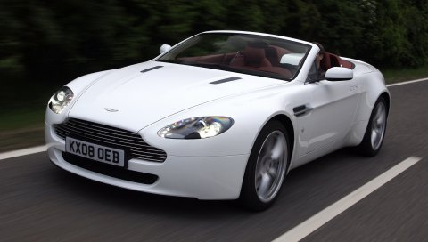 Aston martin, v8, vantage, 2008, белый, вид спереди, автомобили, скорость