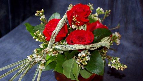 Розы, цветы, цветок, лист, дизайн, композиция