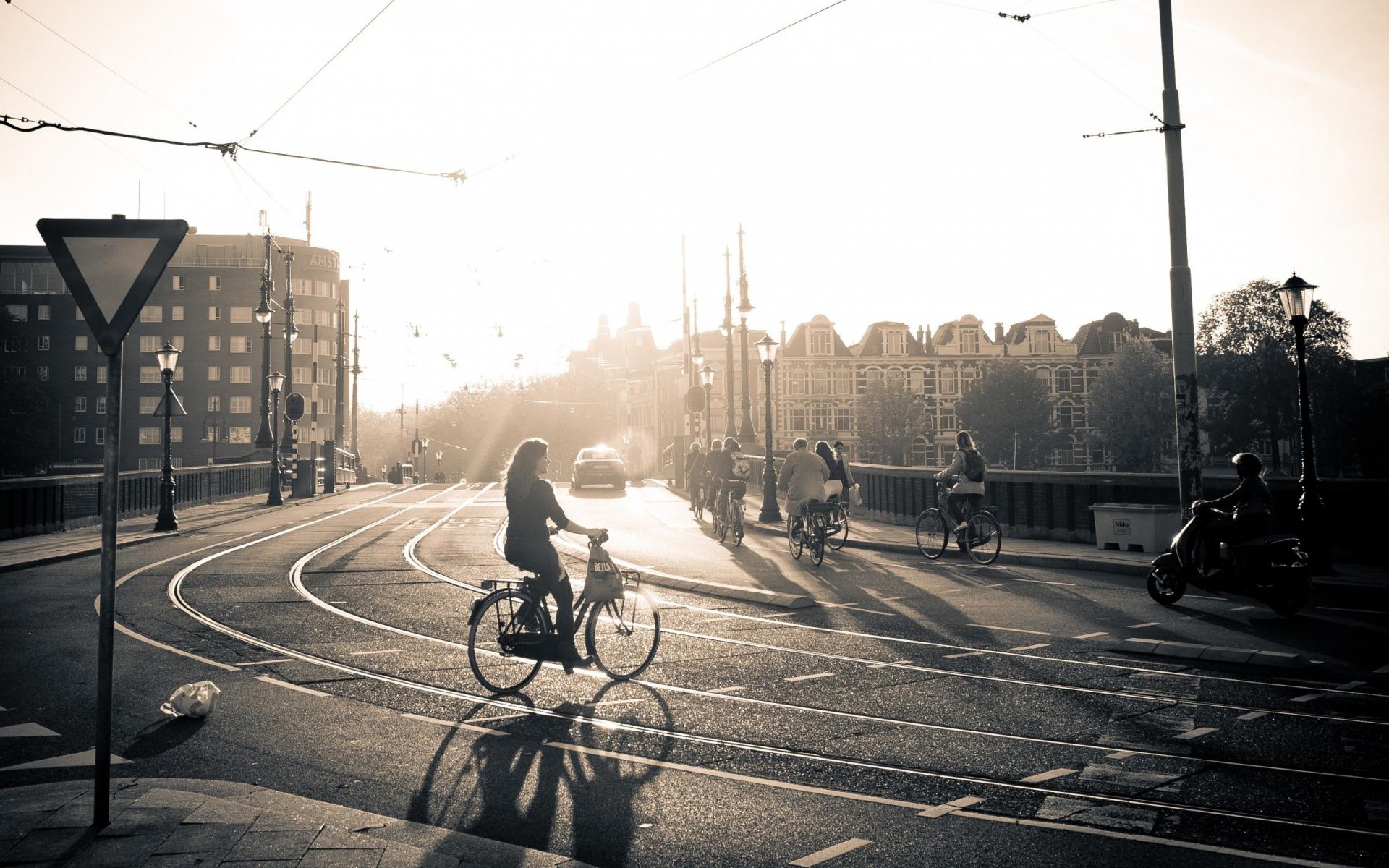 Картинки Улица, дорога, велосипед, люди, свет, солнце, черный белый фото и обои на рабочий стол