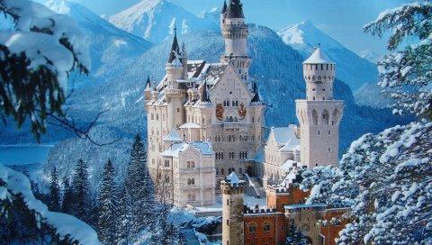Замок, снег, горы, зима, довольно