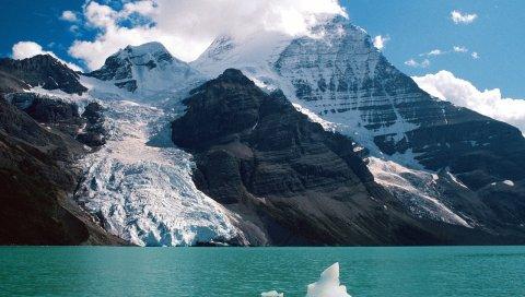 Горы, снег, высота, облака, озеро, ледник, день