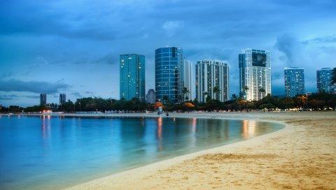 Побережье, майами, небоскребы, пляж, небо, океан, песок