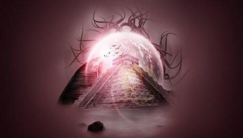 Пирамида, свет, фантазия, воображение