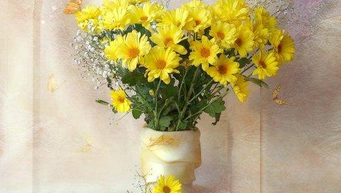 Хризантемы, желтый, цветы, букеты, гипсофила, ваза