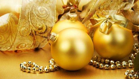 Рождественские украшения, воздушные шары, украшения, золото, лук, лента, праздник, настроение
