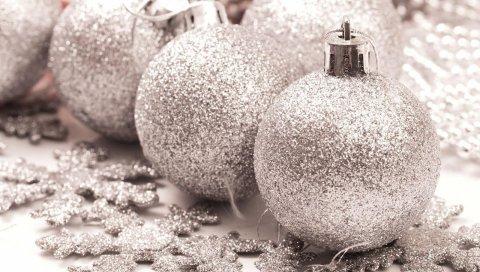 Рождественские украшения, снежинки, блеск, серебро, праздник, украшение