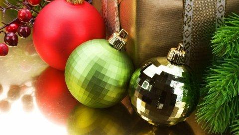 Рождественские украшения, воздушные шары, подарок, нитки, иглы, праздник