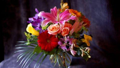Гербера, роза, лилия, каллы, орхидеи, цветы, букет, композиция, ваза